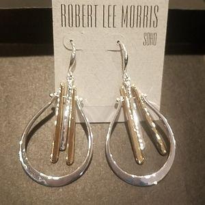 Robert Lee Morris dangle silver and golden tone